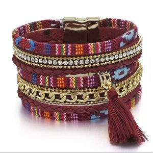 Jewelry - BOGO SALE Boho Tribal Rockin Red Wrap Bracelet